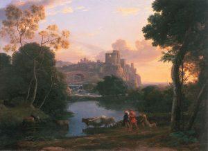 Claude Lorrain, Visione di Tivoli al tramonto 1644