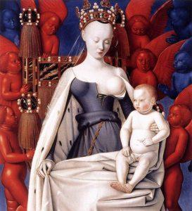 Jean Fouquet, Madonna del latte in trono con il Bambino, 1450 - 1455