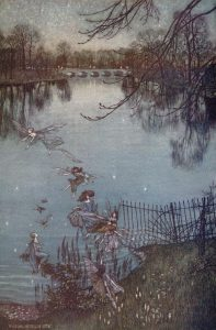 "Arthur Rackham, Illustrazione per ""Peter Pan nei giardini di Kensington"", 1906"