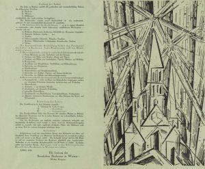 """Manifesto del Bauhaus con la xilografia """"Cattedrale"""" di Lyonel Feininger, 1919"""