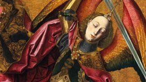 Bartolomé Bermejo, San Michele trionfa sul demonio, dettaglio di San Michele, 1498