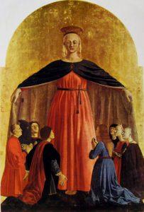 Piero della Francesca, Polittico della Misericordia, dettaglio della Madonna della Misericordia, 1445-1462