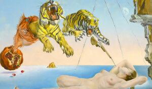 Salvador Dalí, Sogno causato dal volo di un'ape intorno a una melagrana un attimo prima del risveglio, dettaglio, 1944