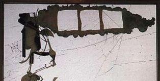 Marcel Duchamp, Il Grande Vetro, 1915-1923,dettaglio della parte superiore