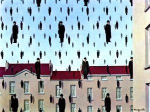 René Magritte, Golconda, 1953