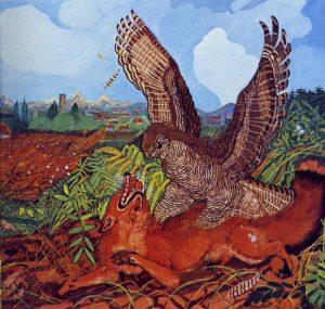 Antonio Ligabue, Aquila con volpe, 1944