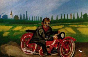 Antonio Ligabue, Autoritratto con moto, 1952