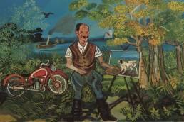 Antonio Ligabure, Autoritratto con moto cavalletto e paesaggio, 1953-1954