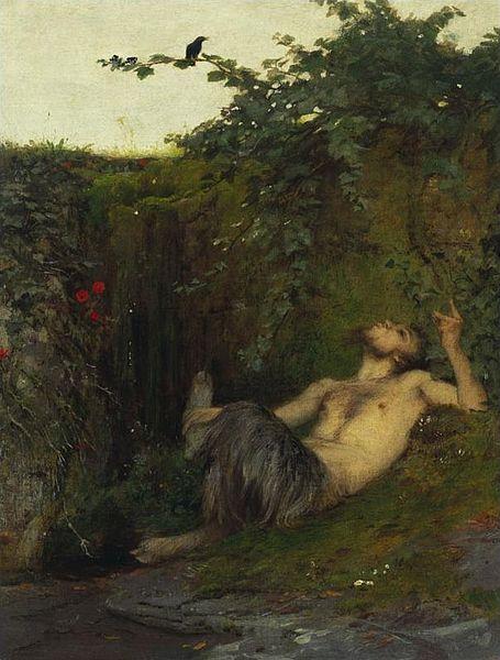 Arnold Böcklin, Pan che fischia a un merlo, 1854