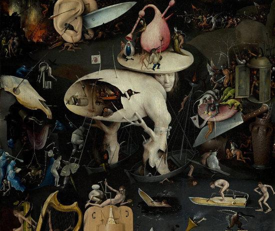 Hieronymus Bosch, Giardino delle delizie, Inferno musicale, dettaglio, 1480-1490