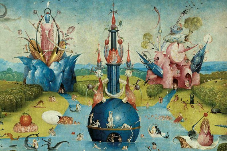 Hieronymus Bosch, Trittico del Girdino delle Delizie, 1480-1490 circa, dettaglio del Giardino delle delizie