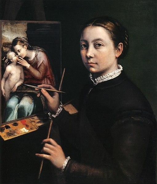 Sofonisba Anguissola, Autoritratto al cavalletto, 1556