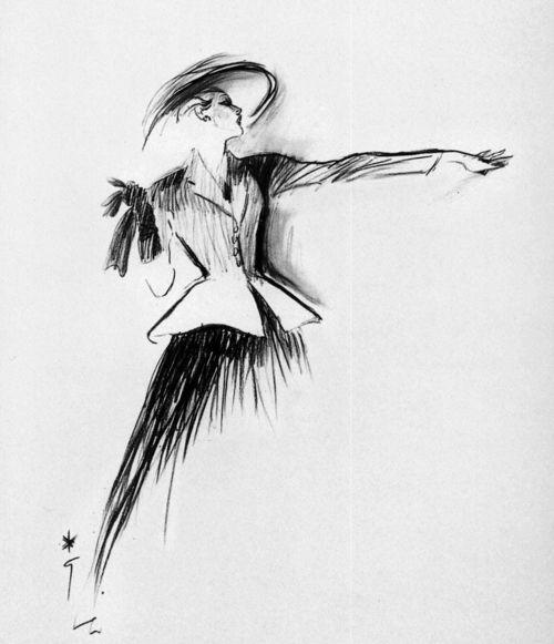 Christian Dior, Disegno per la linea New Look, 1947