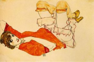 Egon Schiele, Wally in camicia rossa, 1913
