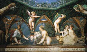 Parmigianino, decorazione per la rocca di Fontanellato, dettaglio del bagno di Diana, 1523