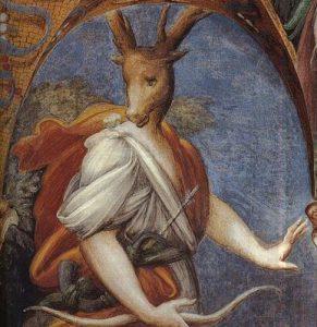 Parmigianino, decorazione per la rocca di Fontanellato, dettaglio di Atteone trasformato in cervo, 1523