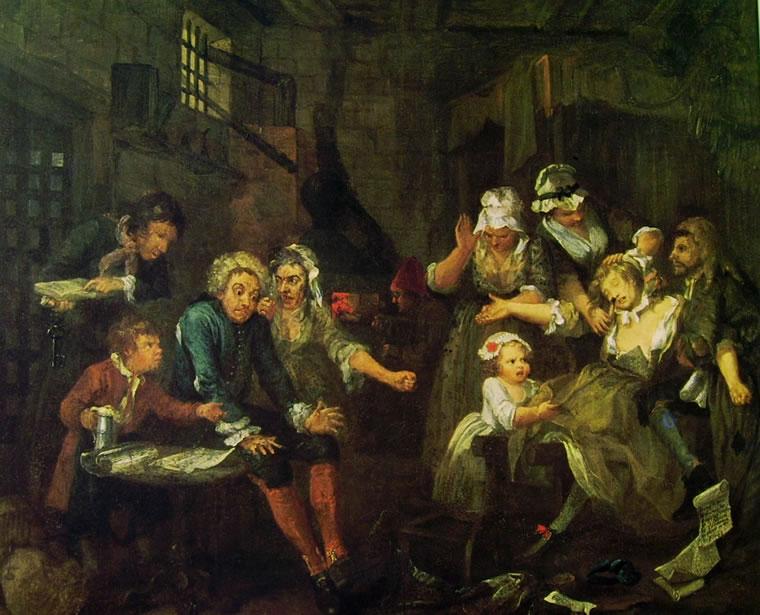 William Hogarth, La prigione, settimo dipinto dalla serie La carriera di un libertino, 1735