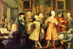 William Hogarth, La sveglia, secondo dipinto dalla serie La carriera di un libertino, 1735