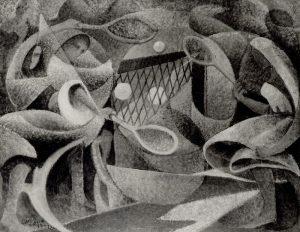 Arturo Ciacelli, Dinamismo-tennis, riproduzione in bianco e nero, 1918