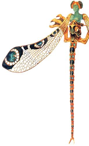 René Lalique, Spilla a libellula, dettaglio