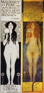 Gustav Klimt, Nuda Veritas, a sinistra la versione del 1898, a destra quella del dipinto del 1899