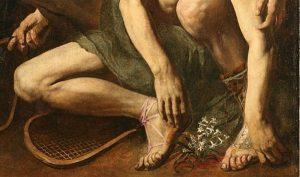Attribuito a Cecco del Caravaggio, La morte di Giacinto, dettaglio, 1610