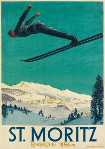 Carl Moos, Saint Moritz, Poster, 1928