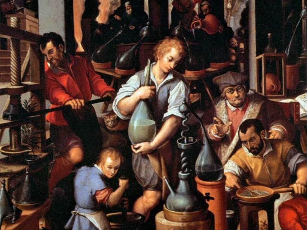Giovanni Stradano, Il laboratorio dell'alchimista, dettaglio, 1580