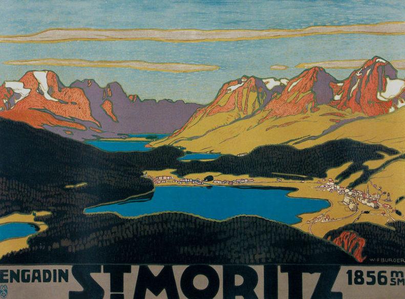 Wilhelm Friedrich Burger, Saint Moritz, Poster, 1912