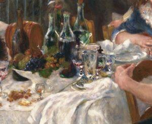 Pierre-Auguste Renoir, La colazione dei canottieri, dettaglio della tavola imbandita, 1881