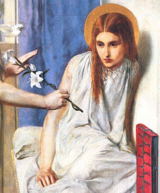 Dante Gabriel Rossetti, Ecce Ancilla Domini, dettaglio, 1849-1850