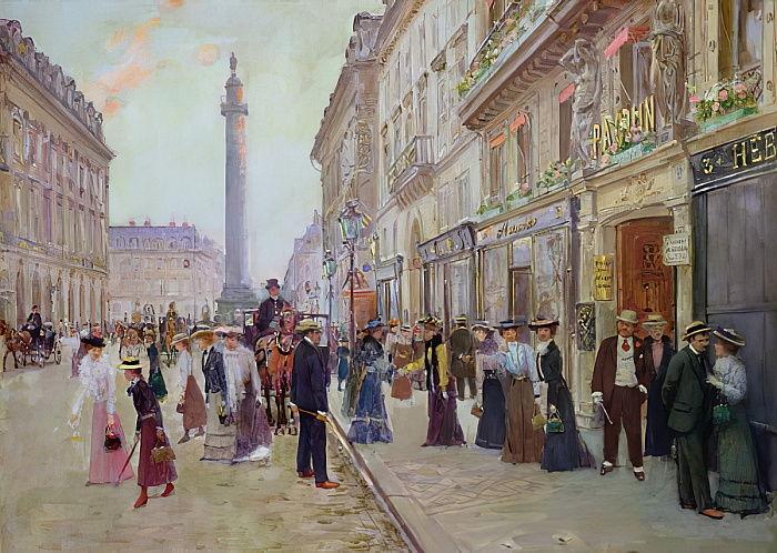 Jean Béraud, Lavoratori escono dalla Maison Paquin, 1900