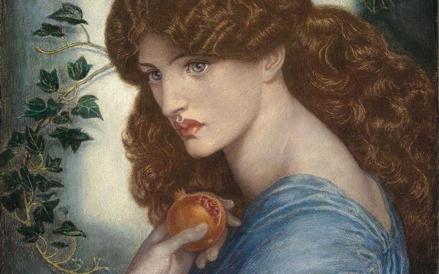 Dante Gabriel Rossetti, Proserpina, dettaglio, 1874