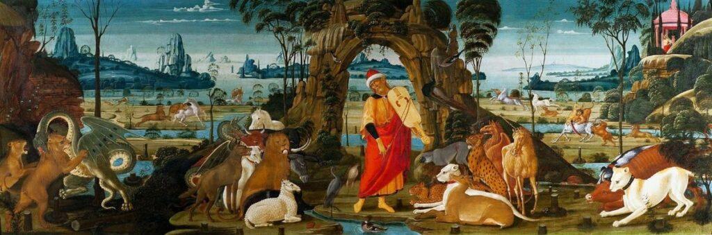 Jacope del Sellaio, Orfeo suona e ammansisce gli animali, 1480