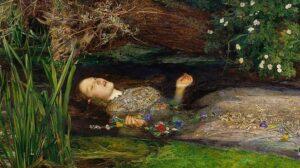 John Everett Millais, Ophelia, dettaglio, 1851-1852