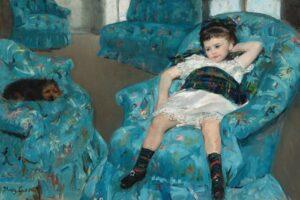 Mary Cassatt, Bambina su una poltrona blu, 1877-1878