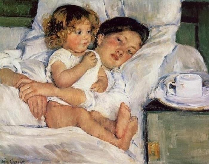 Mary Cassatt, Colazione a letto, 1897