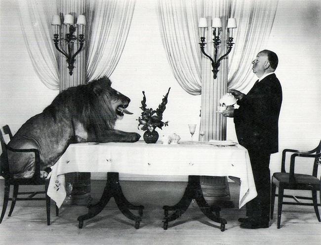 Alfred Hitchcock che serve il tè a Leo, il leone mascotte della MGM, 1958