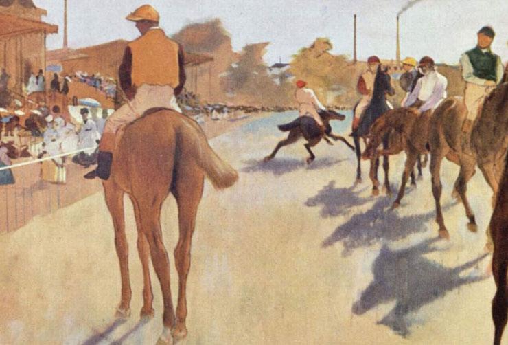 Edgar Degas, La sfilata – Cavalli da corsa davanti alle tribune, dettaglio delle ombre, 1866