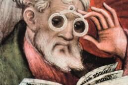 Conrad von Soest, L'apostolo degli occhiali, dettaglio, 1403